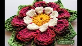Collarette Dahlia Applique view 2 by Cheryl Dee Crochet