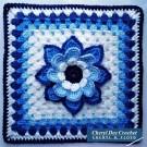 Collarette Dahlia Square 12in blue by Cheryl Dee Crochet