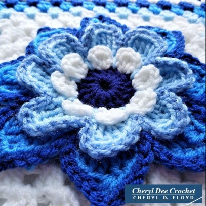 Collarette Dahlia Square 12in blue close up of flower by Cheryl Dee Crochett