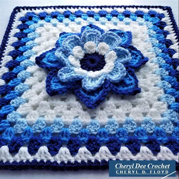 Collarette Dahlia Square 12in blue looking upward by Cheryl Dee Crochet