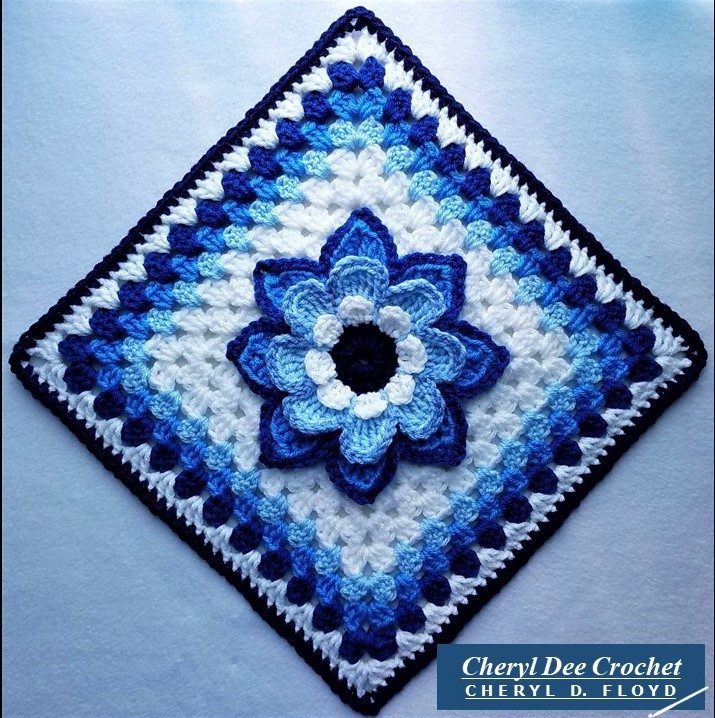 Collarette Dahlia Square 12in blue on point by Cheryl Dee Crochet