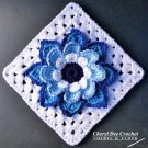 Collarette Dahlia Square 8 in on point blue by Cheryl Dee Crochet