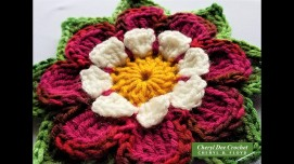 Collarette Dahlia Square Applique by Cheryl Dee Crochet