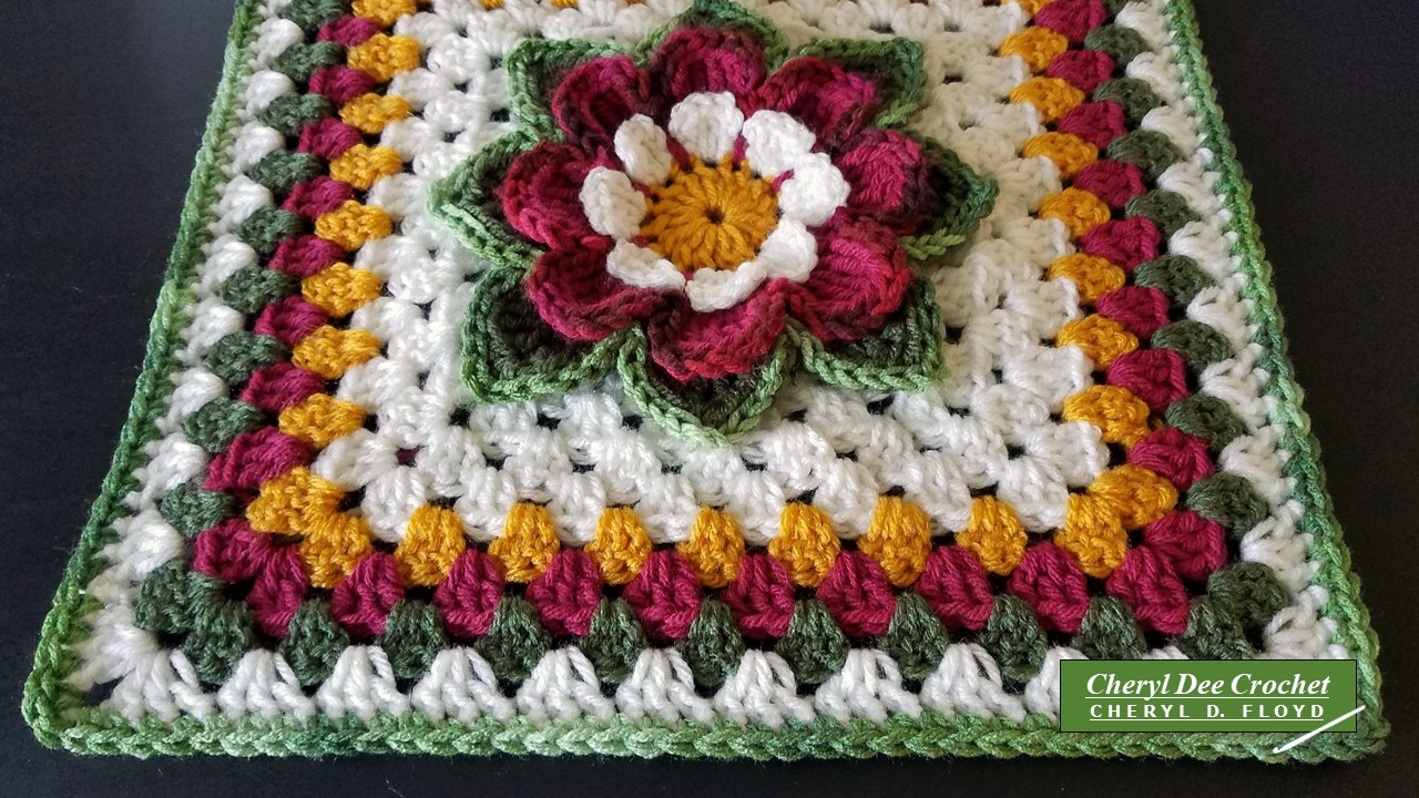Teal and Cream Granny Squared Dahlia Afghan