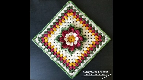 Collarette Dahlia Square on point by Cheryl Dee Crochet