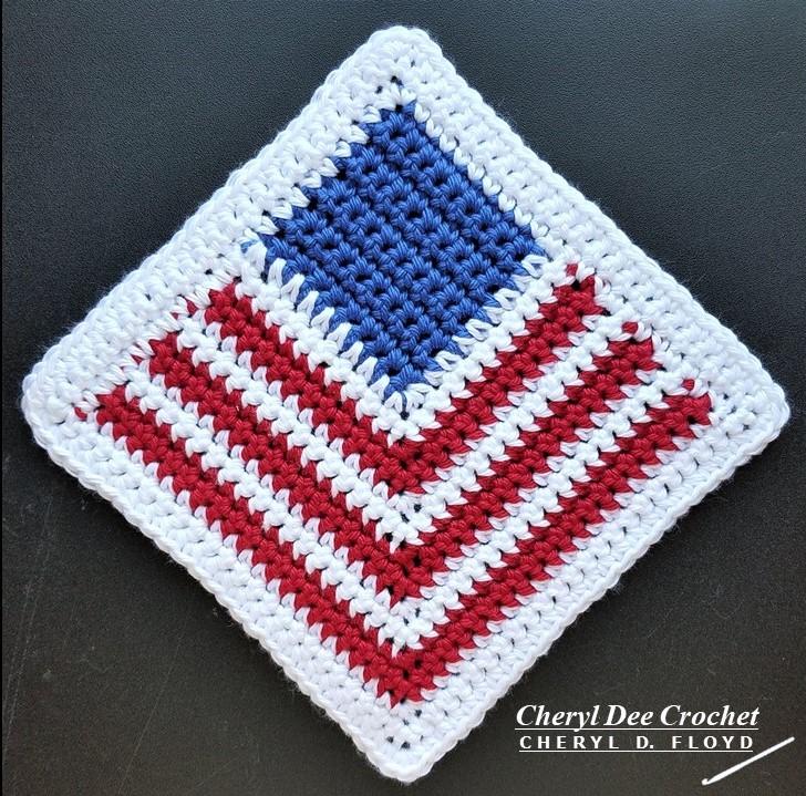 Patriotic Dishcloth crochet pattern by Cheryl Dee Floyd