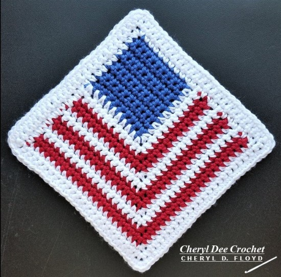 Patriotic Dishcloth crochet pattern by Cheryl Dee Floyd