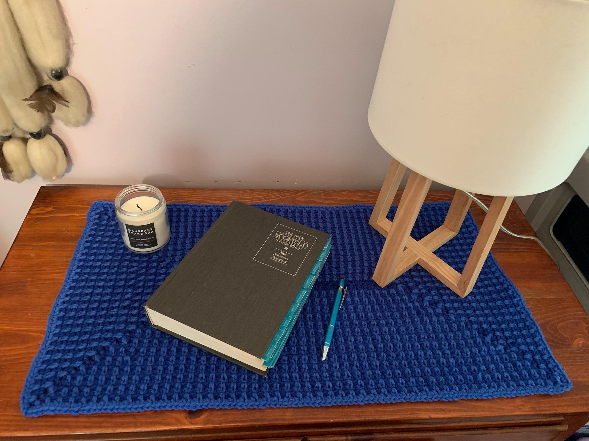 Dawn Eckel Test Project 2 Radiating Moss Stitch Rectangle Desk Pad