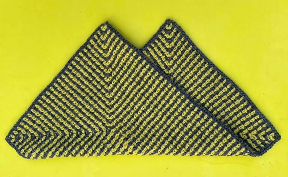 Denise Thomas Test Project Radiating Moss Stitch Rectangle Baby Lovey Folded