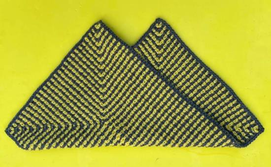 Denise Thomas Test Project Radiating Moss Stitch Rectangle Baby Lovey Folded